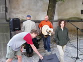 setting up the band in Prachatice